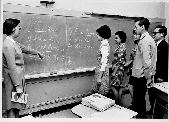 English class for Asian American's in the 1960's. Photo credit here.
